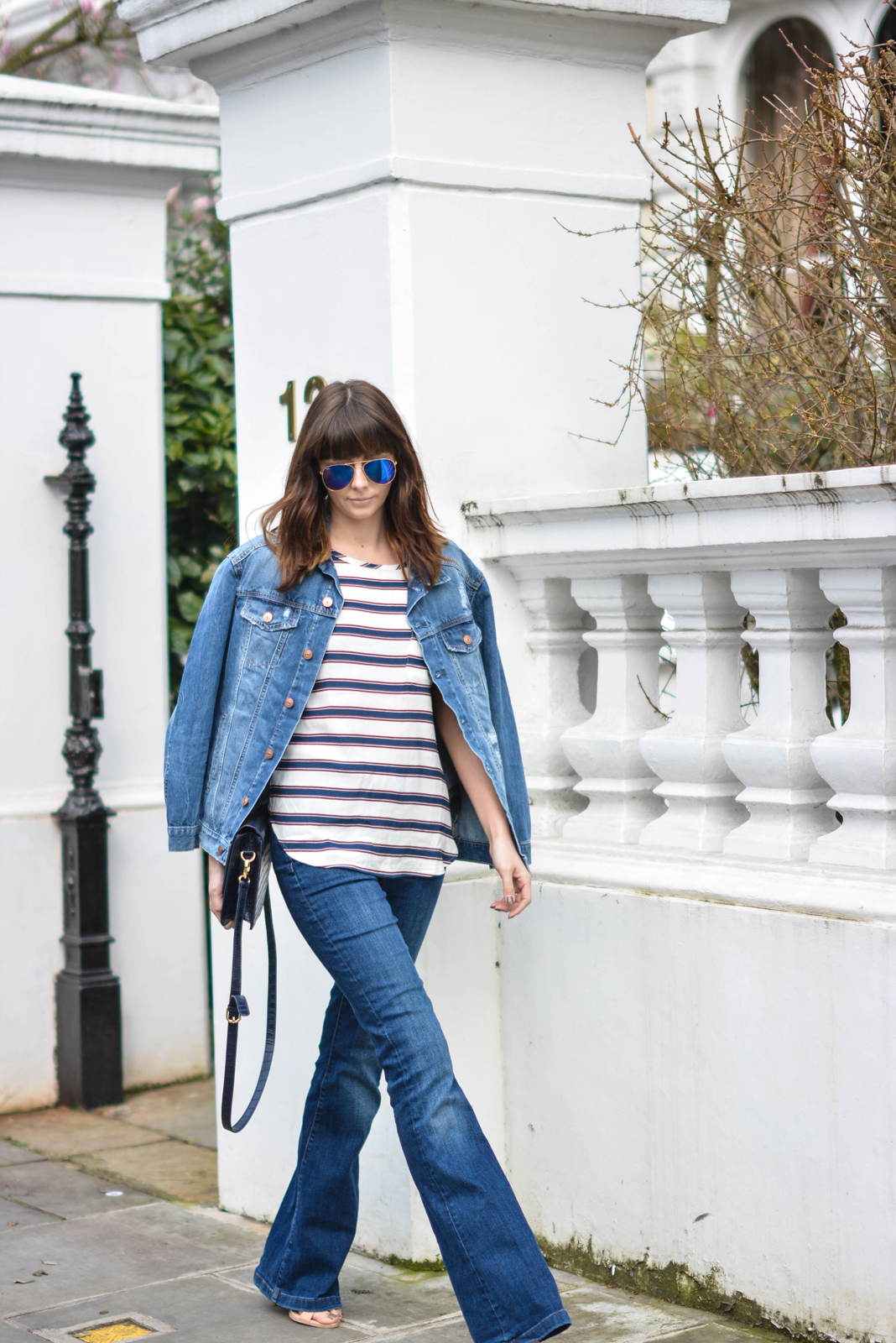 EJSTYLE - Emma Hill, Double denim, Spring outfit, flare jeans, stripe H&M top, H&M denim jacket, navy bag, OOTD
