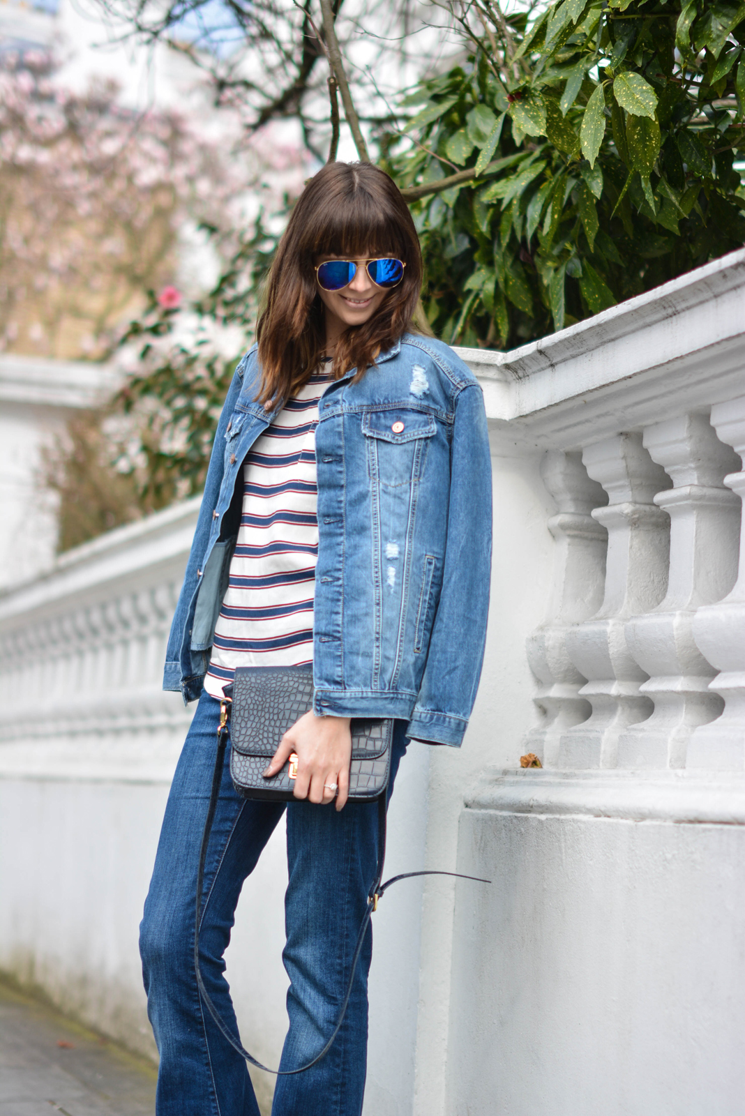 EJSTYLE - Emma Hill, Double denim, Spring outfit, flare jeans, stripe H&M top, H&M denim jacket, navy bag