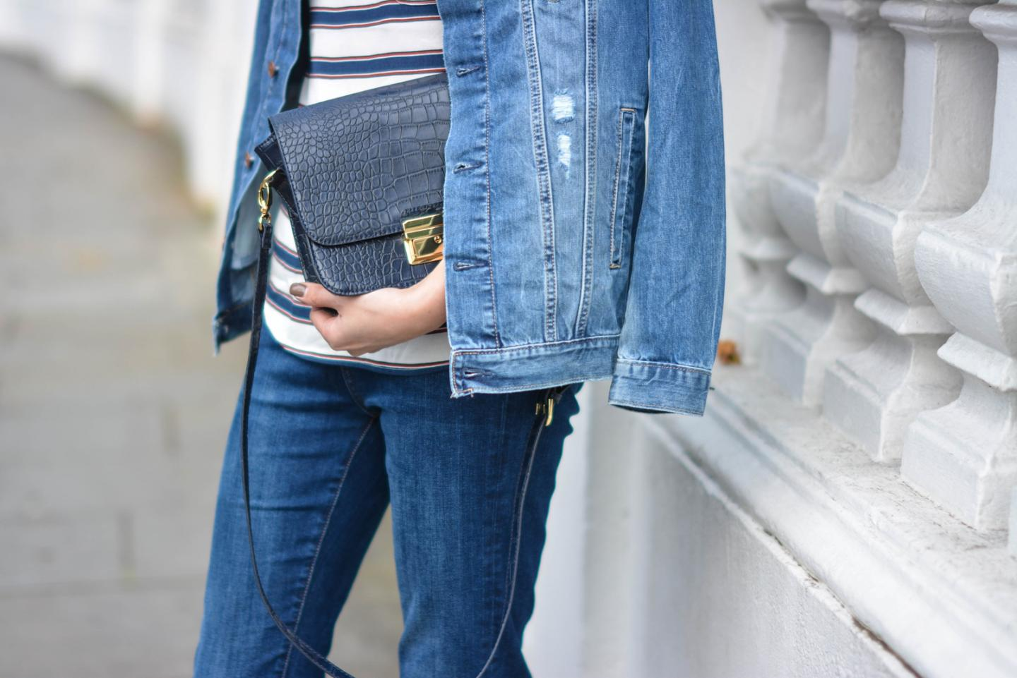 EJSTYLE - Emma Hill, Double denim, Spring outfit, flare jeans, stripe H&M top, H&M denim jacket, navy moc croc bag forever 21, celine style classic bag, OOTD