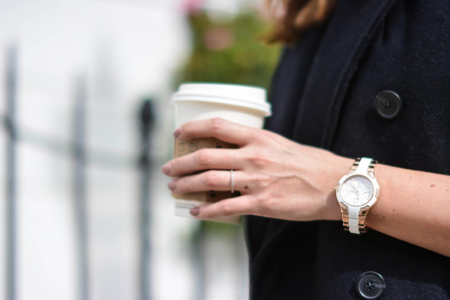 EJSTYLE - Emma Hill, Guess Gold white rubber watch, H&M studio sleeveless coat, starbucks cup