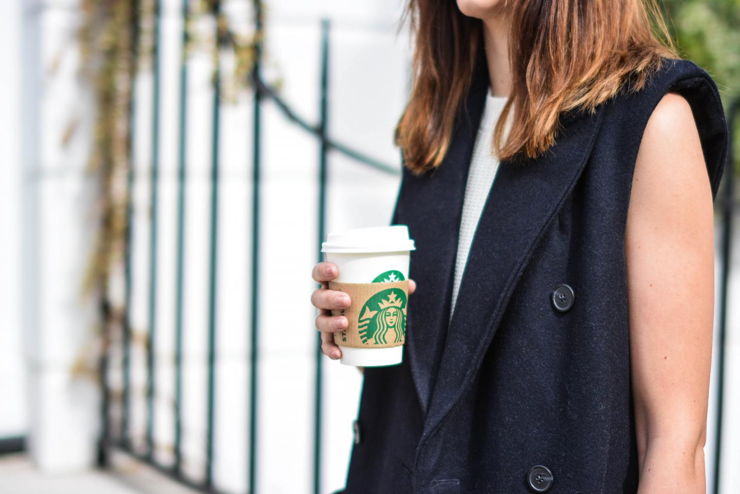 EJSTYLE - Emma Hill, H&M Studio sleeveless coat, starbucks cup