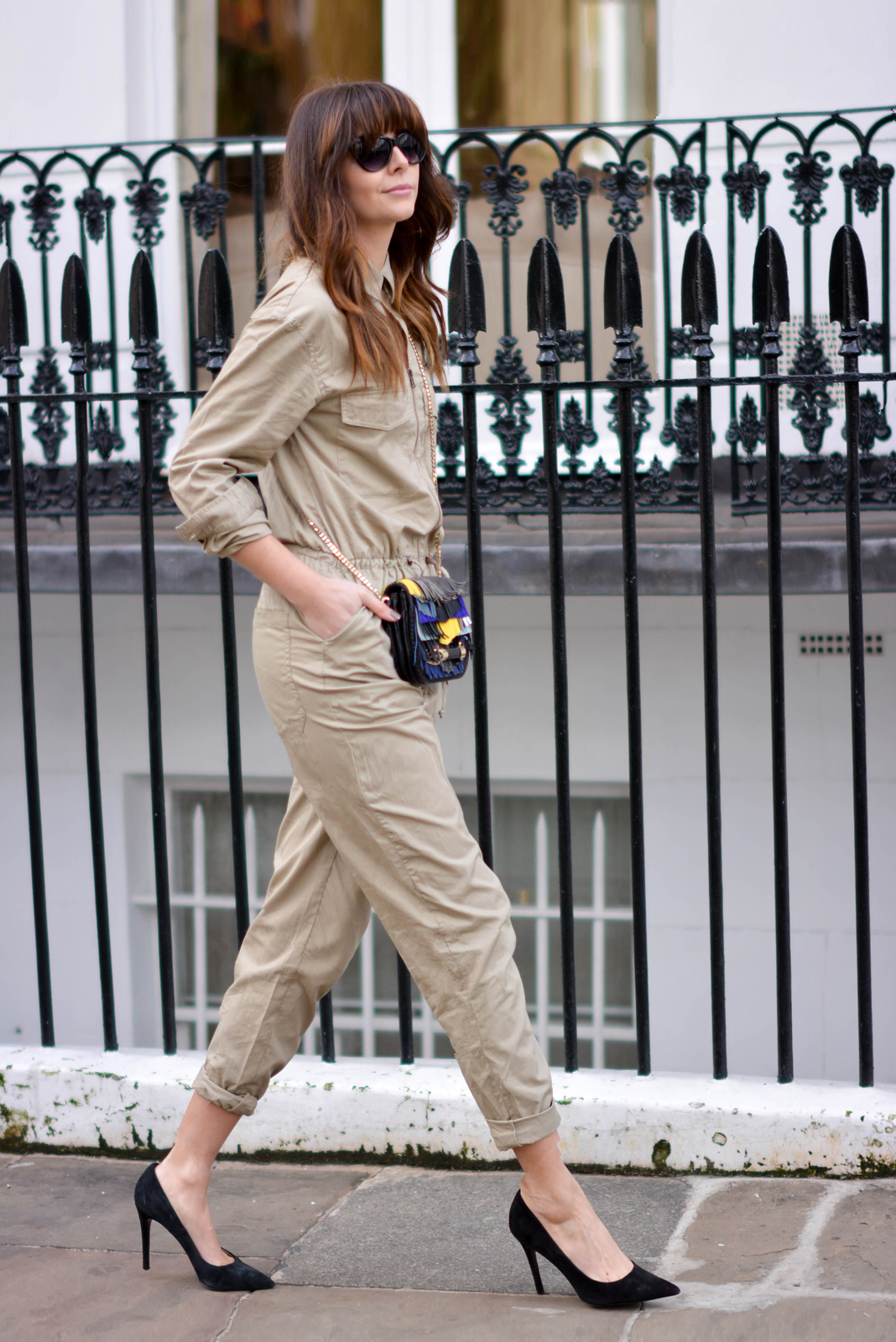 EJSTYLE - Emma Hill, H&M jumpsuit boilersuit, H&M Concious collection, Jimmy Choo fringe Zadie bag, Zara black suede court shoes, OOTD, London Street style