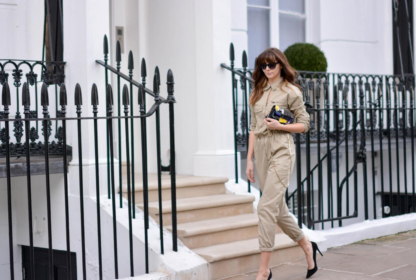 EJSTYLE - Emma Hill, H&M jumpsuit boilersuit, H&M SS15 concious collection, Jimmy Choo fringe Zadie bag, Zara black suede court shoes, OOTD, London Street style, fashion blogger