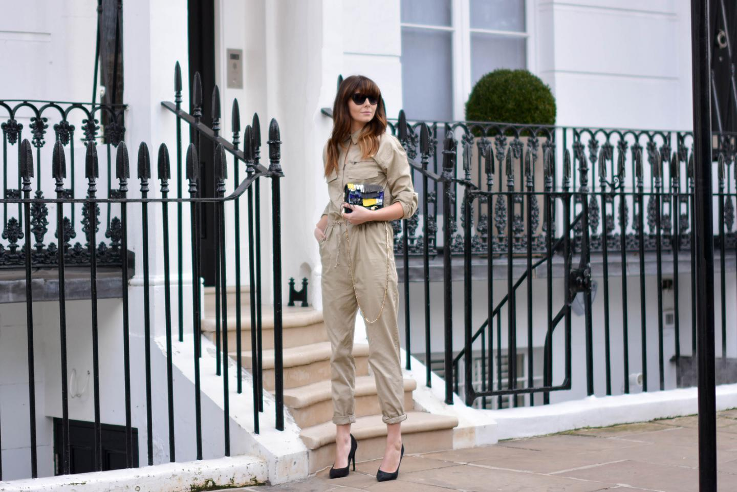 EJSTYLE - Emma Hill, H&M jumpsuit boilersuit, H&M SS15 concious collection, Jimmy Choo fringe Zadie bag, Zara black suede court shoes, OOTD, London Street style