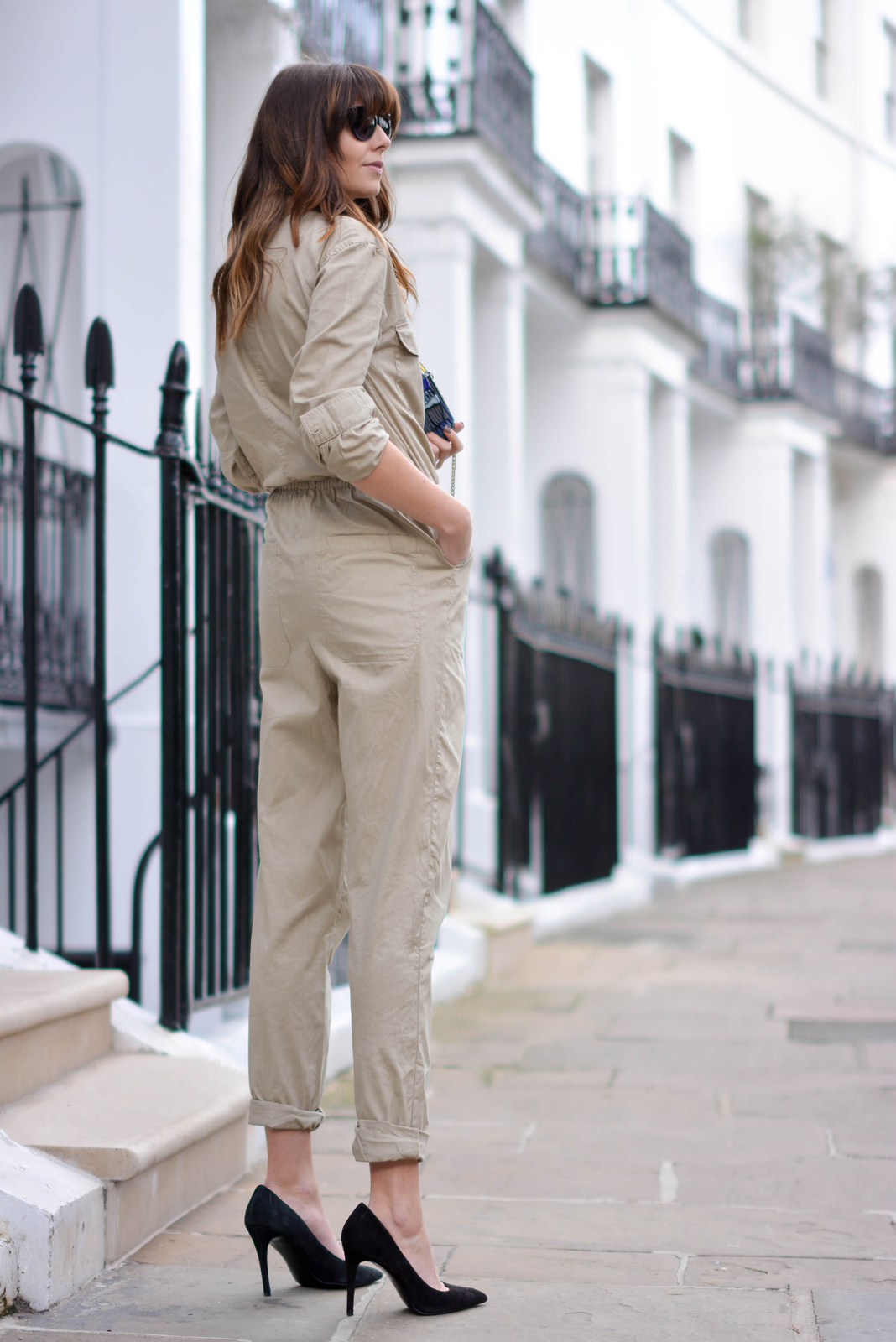 EJSTYLE - Emma Hill, H&M jumpsuit boilersuit, H&M concious collection 2015, H&M SS15, Zara black suede court shoes, OOTD, London Street style