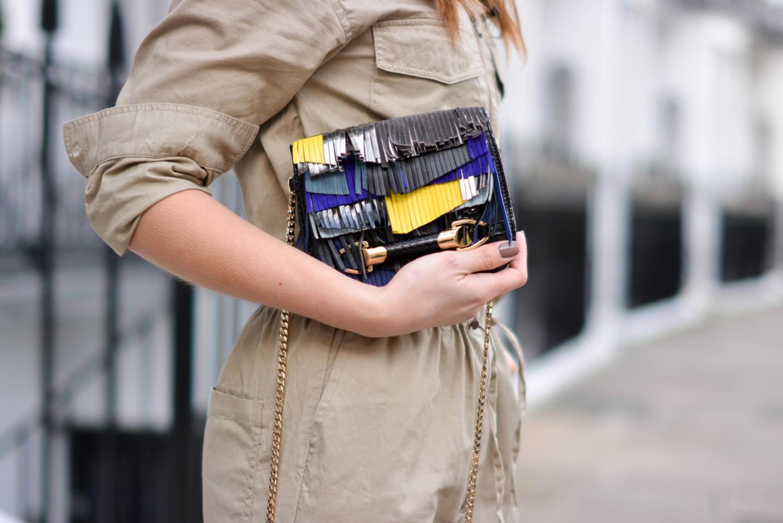 EJSTYLE - Emma Hill, H&M jumpsuit boilersuit, Jimmy Choo fringe Zadie bag, OOTD, fringe suede bag, London Street style