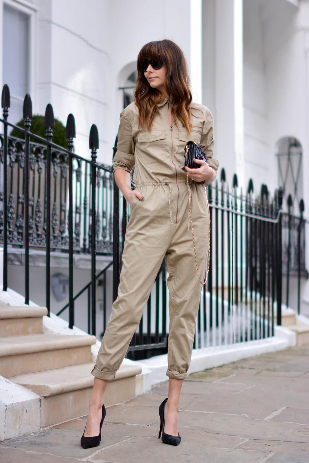 EJSTYLE - Emma Hill, H&M jumpsuit boilersuit, Jimmy Choo fringe Zadie bag, Zara black suede court shoes, OOTD, London Street style