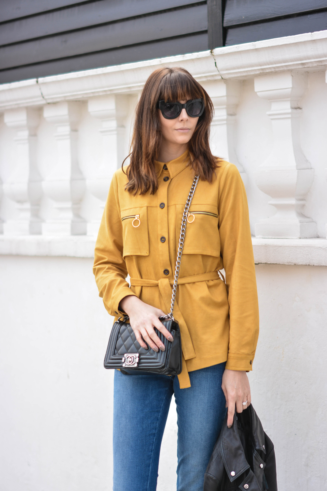 EJSTYLE - Emma Hill, H&M tan suedette shirt, 70s shirt, M&S straight cut jeans, Chanel Boy Bag