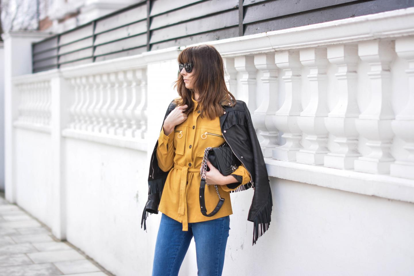EJSTYLE - Emma Hill, Karen Millen leather fringe jacket, H&M tan suedette shirt, M&S straight cut jeans, Chanel Boy Bag, chunky cat eye sunglasses