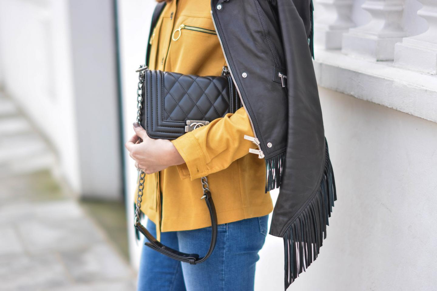 EJSTYLE - Emma Hill, Karen Millen leather fringe jacket, H&M tan suedette shirt, M&S straight cut jeans, Chanel Boy Bag