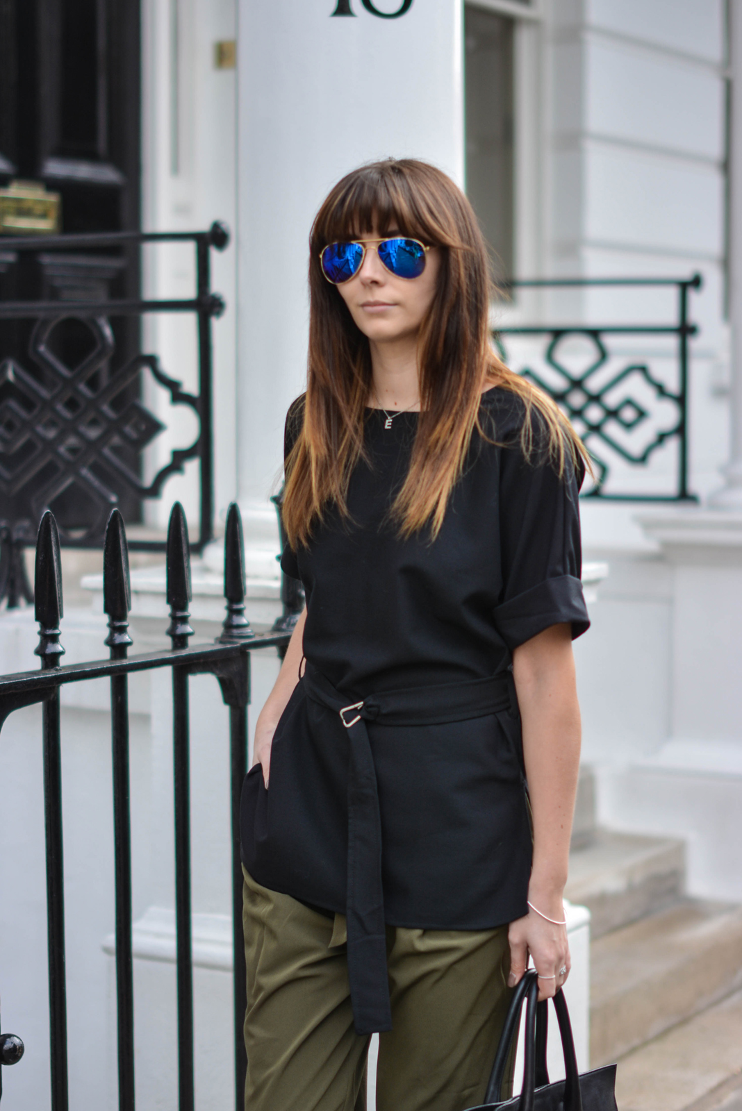 EJSTYLE - Emma Hill, London Street style, SS15, LFW, Khaki silk trousers, ASOS d ring black t shirt top, ray ban sunglasses, OOTD details