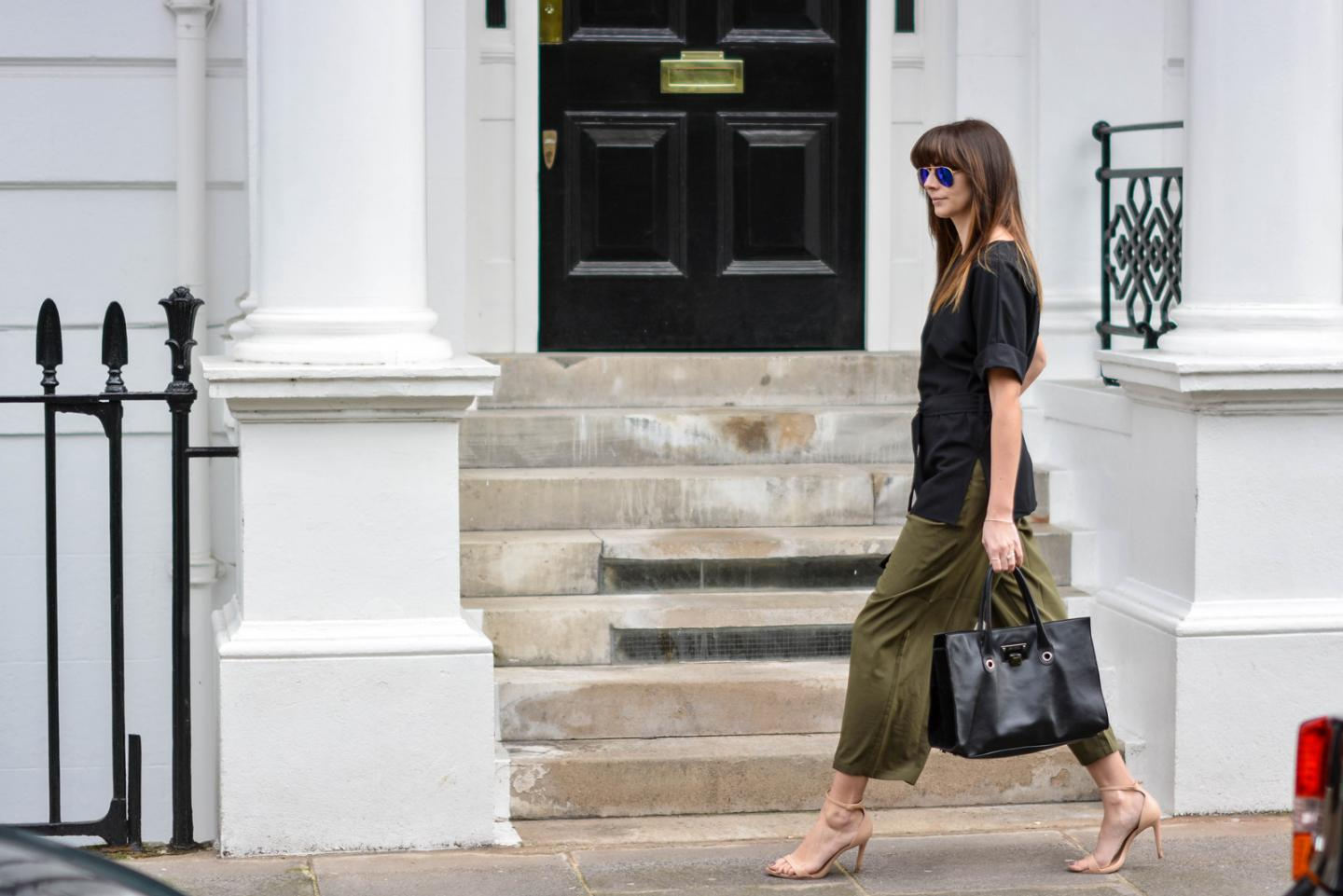 EJSTYLE - Emma Hill, London Street style, SS15, LFW, Khaki silk trousers, Jimmy Choo Riley Bag, ASOS d ring black t shirt top, nude strappy sandals, ray ban sunglasses
