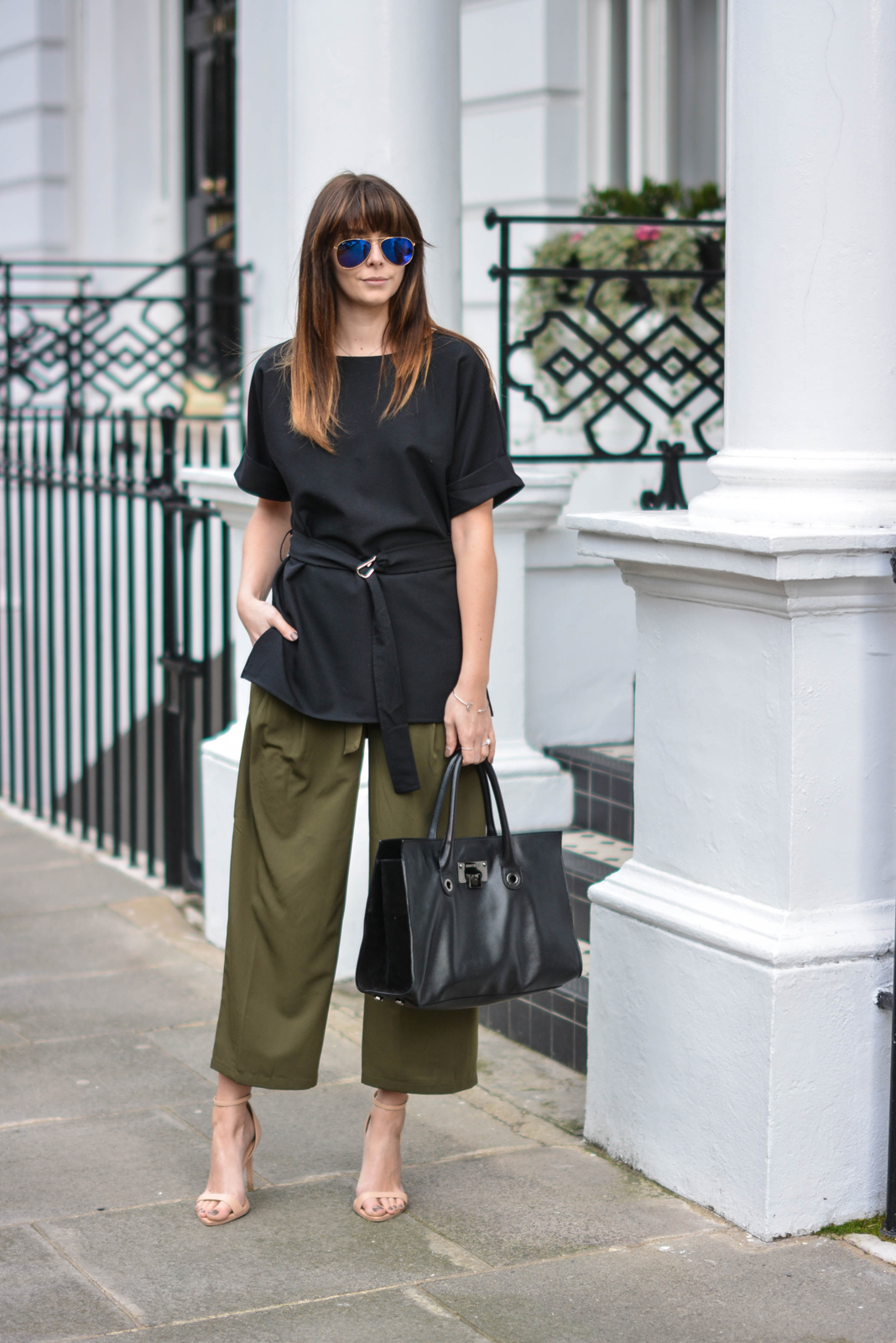 EJSTYLE - Emma Hill, London Street style, SS15, LFW, asos Khaki cropped trousers, Jimmy Choo Riley Bag, ASOS d ring black t shirt top, nude strappy sandals, ray ban sunglasses, OOTD