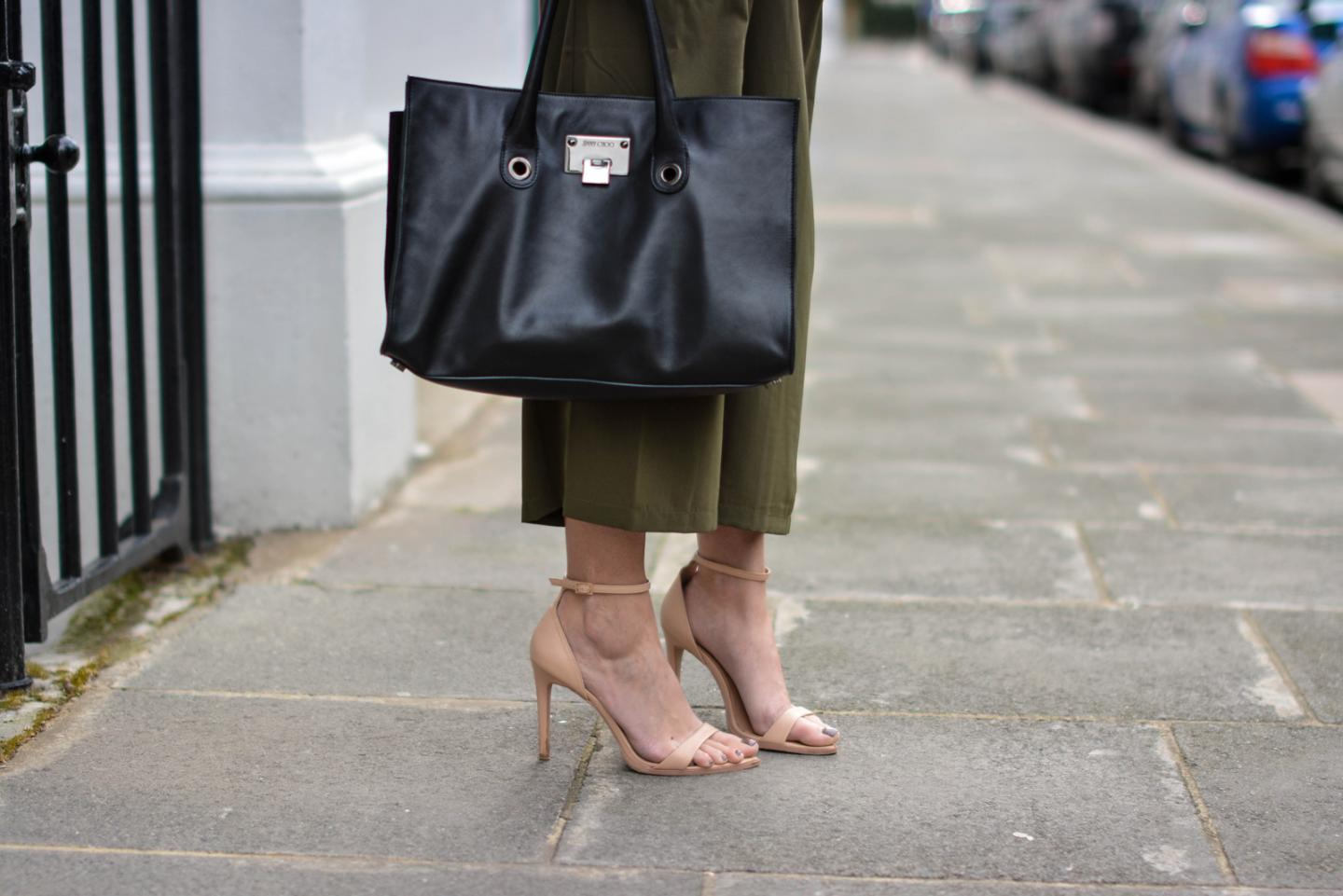 EJSTYLE - Emma Hill, London Street style, SS15, LFW, asos Khaki cropped trousers, Jimmy Choo Riley Bag, nude strappy sandals