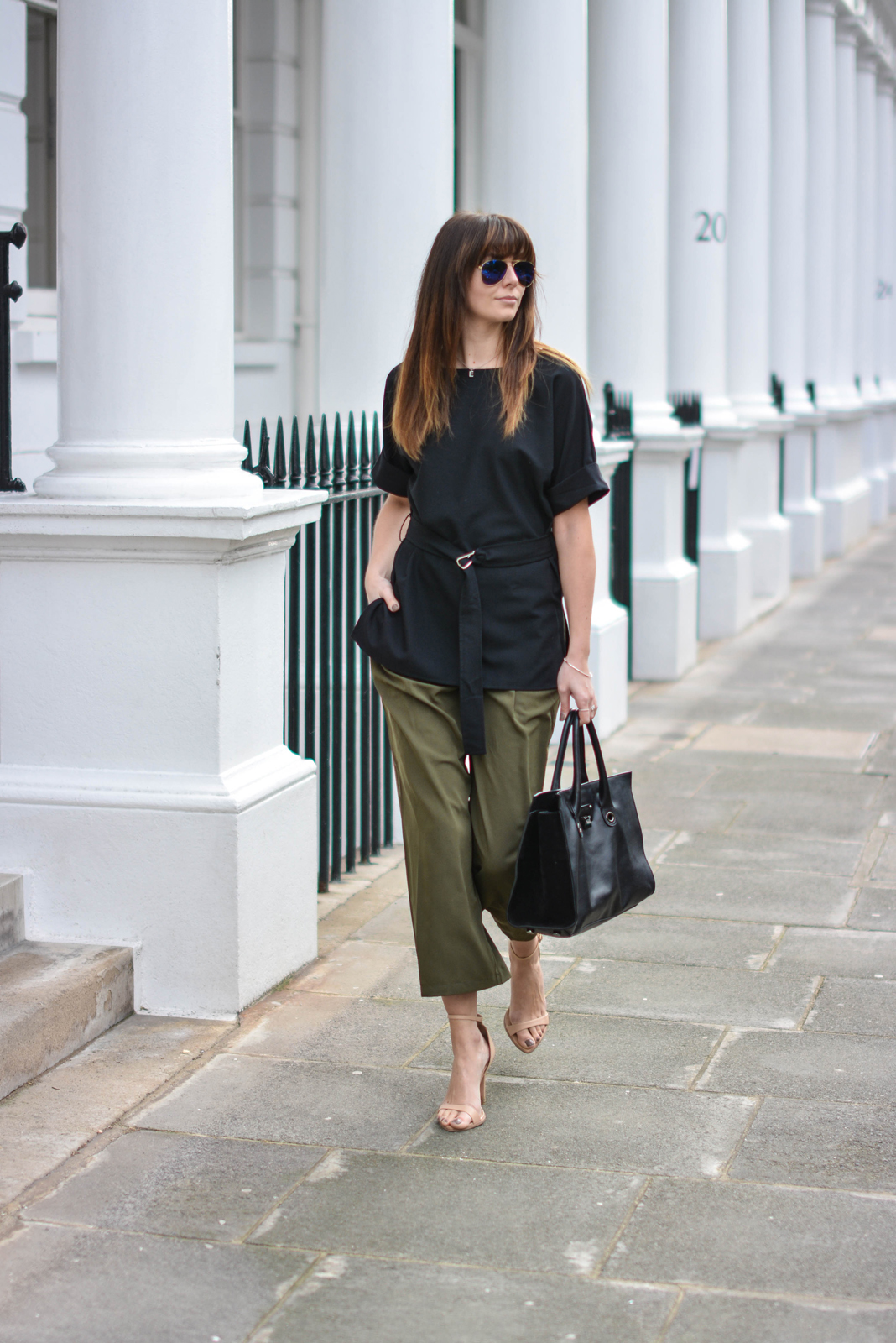 EJSTYLE - Emma Hill, London Street style, SS15, LFW, asos silky Khaki cropped trousers, Jimmy Choo Riley Bag, ASOS d ring black t shirt top, nude strappy sandals, ray ban sunglasses, OOTD