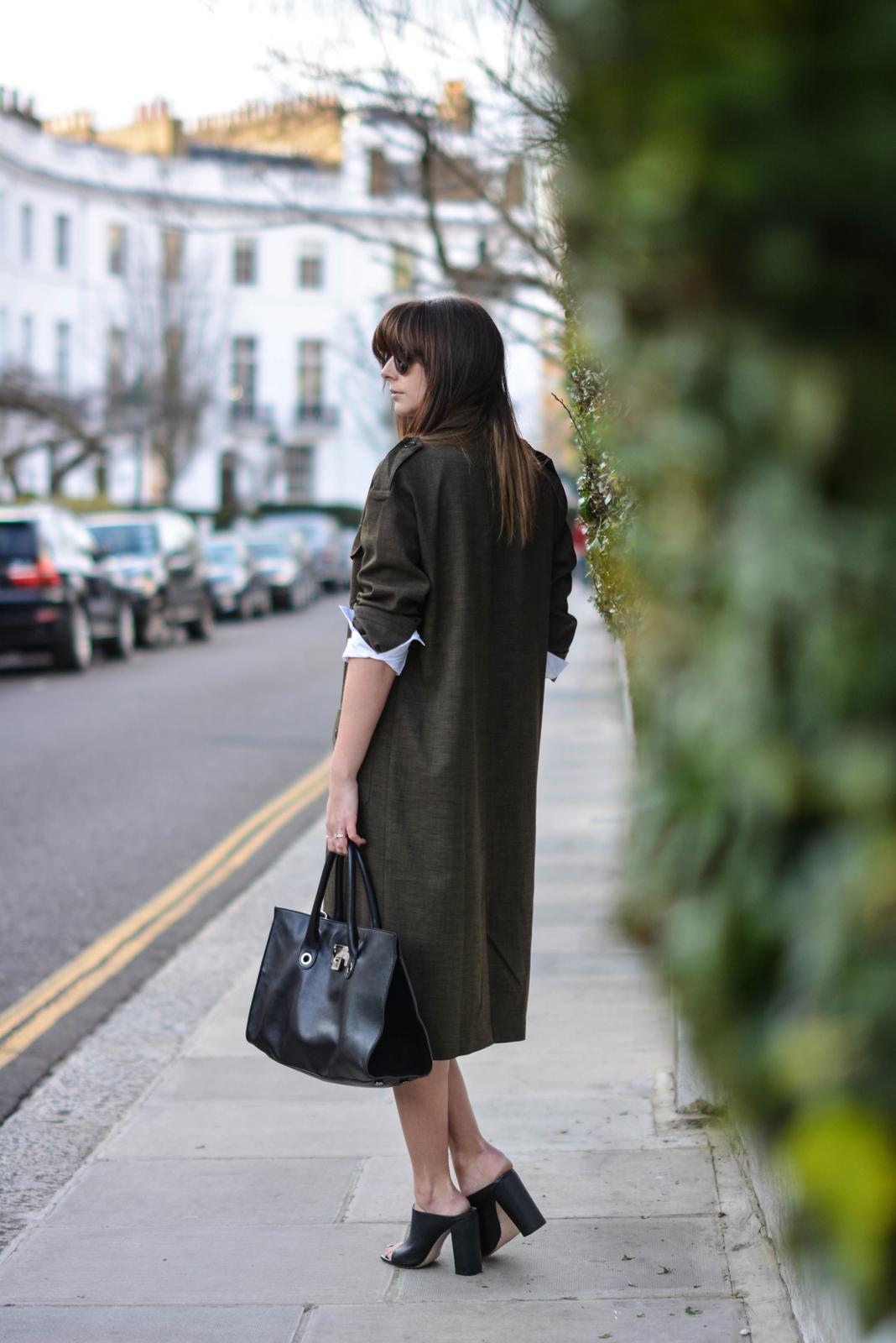 EJSTYLE - Emma Hill, London street style LFW, Khaki asos coord, asos khaki long jacket, Zara mules, Jimmy Choo Riley bag