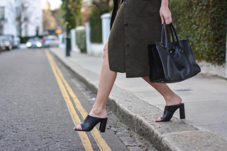 EJSTYLE - Emma Hill, London street style LFW, Khaki asos coord, asos khaki long jacket, asos khaki wrap skirt, Zara mules, Jimmy Choo Riley bag