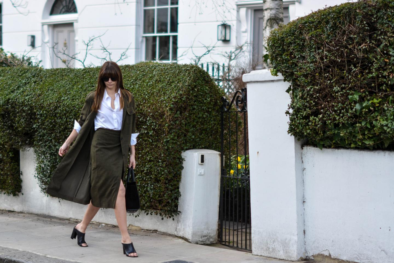 EJSTYLE - Emma Hill, London street style LFW, Khaki asos coord, asos khaki long jacket, asos khaki wrap skirt, asos white backless shirt, Zara mules, Jimmy Choo Riley bag, OOTD