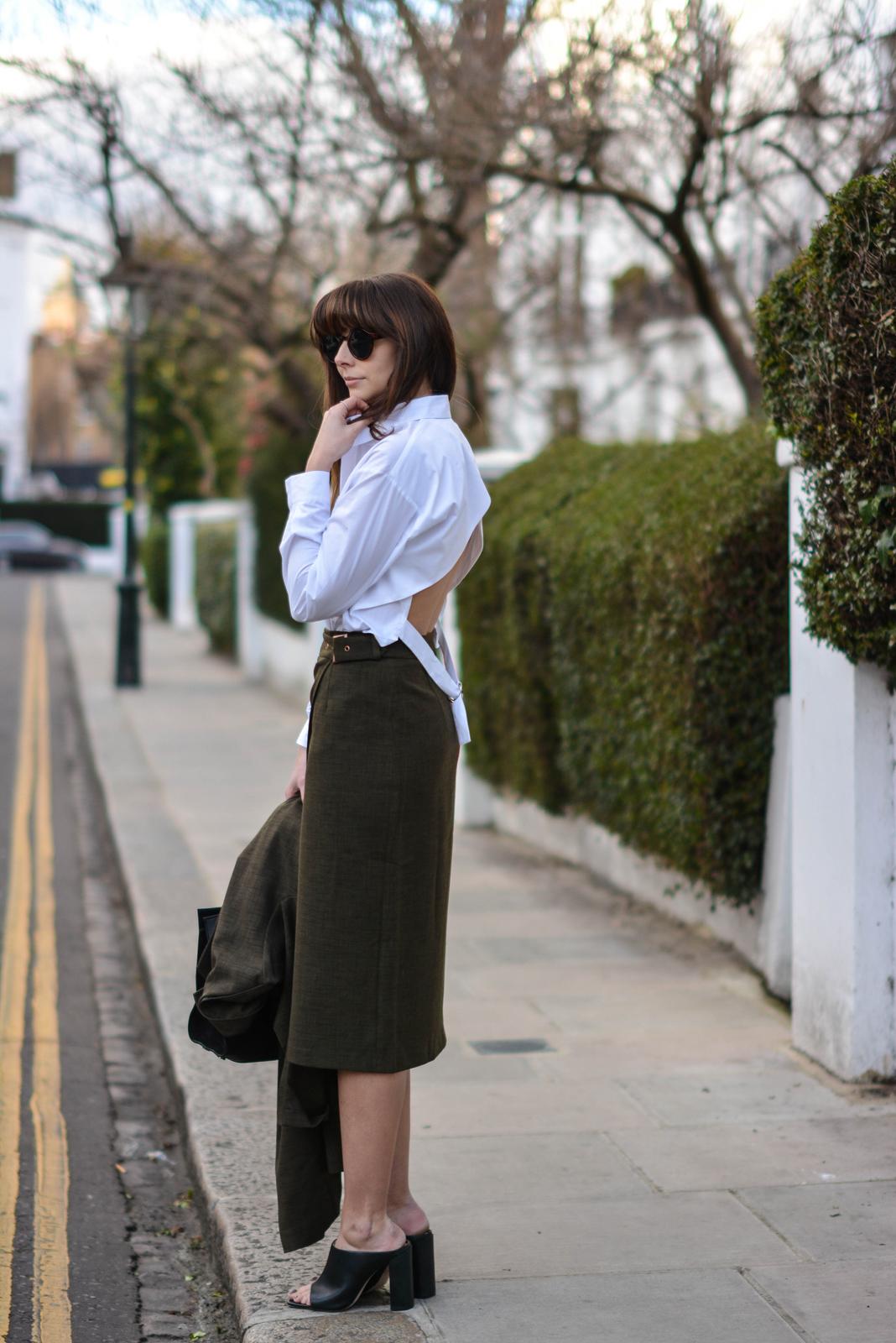 EJSTYLE - Emma Hill, London street style LFW, Khaki asos coord, asos khaki long jacket, asos khaki wrap skirt, asos white backless shirt, Zara mules, Jimmy Choo Riley bag