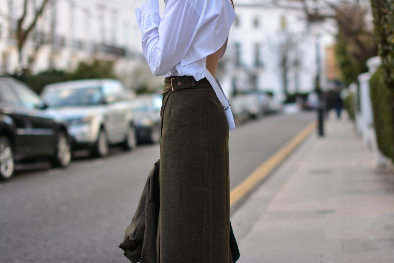 EJSTYLE - Emma Hill, London street style LFW, asos khaki wrap skirt, asos white backless shirt, d ring shirt