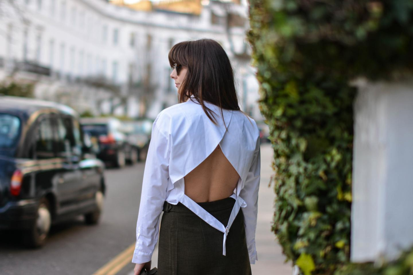 EJSTYLE - Emma Hill, London street style LFW, asos white backless shirt, d ring shirt