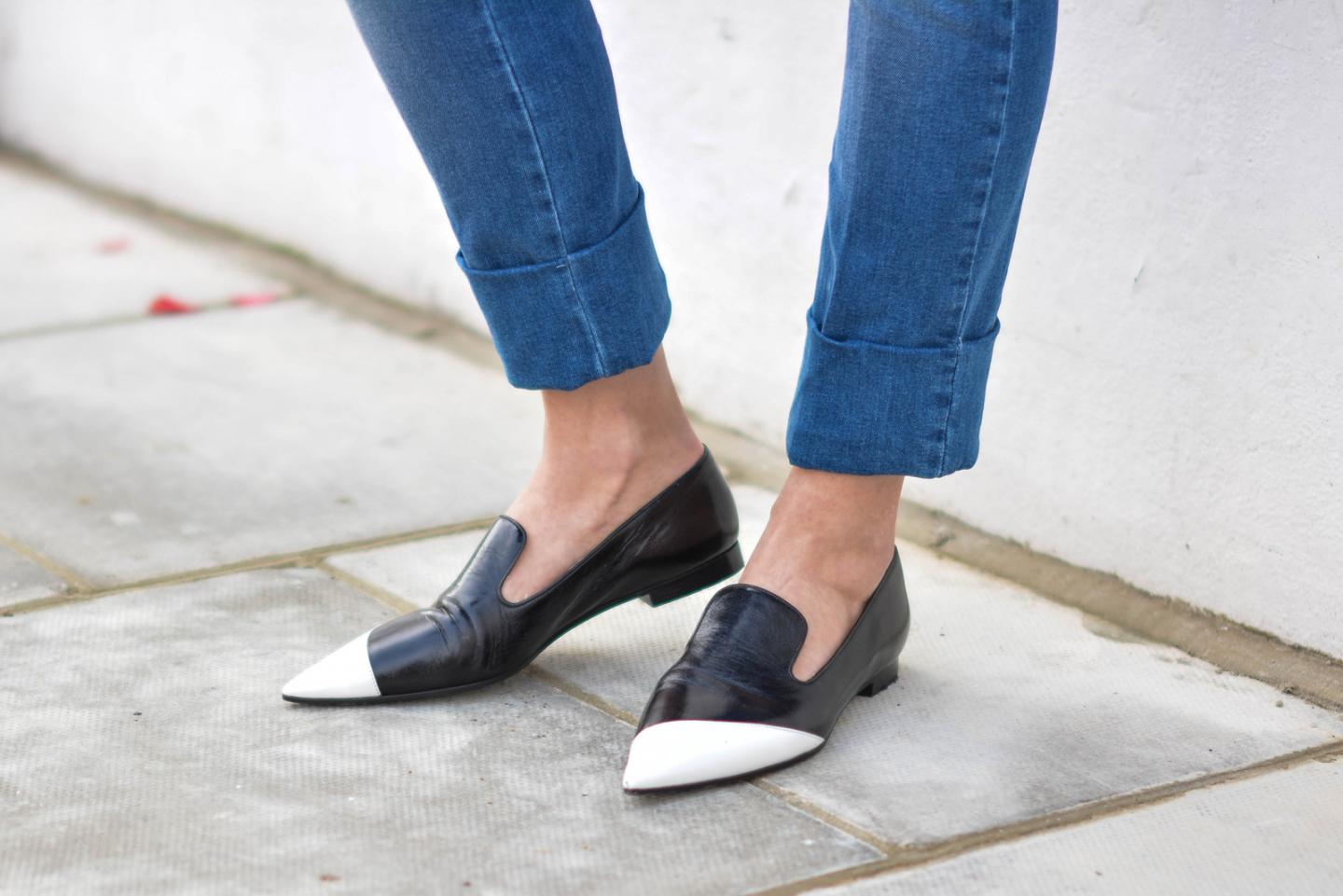 EJSTYLE - Emma Hill, Miu Miu pointed black white loafers, pointed flats