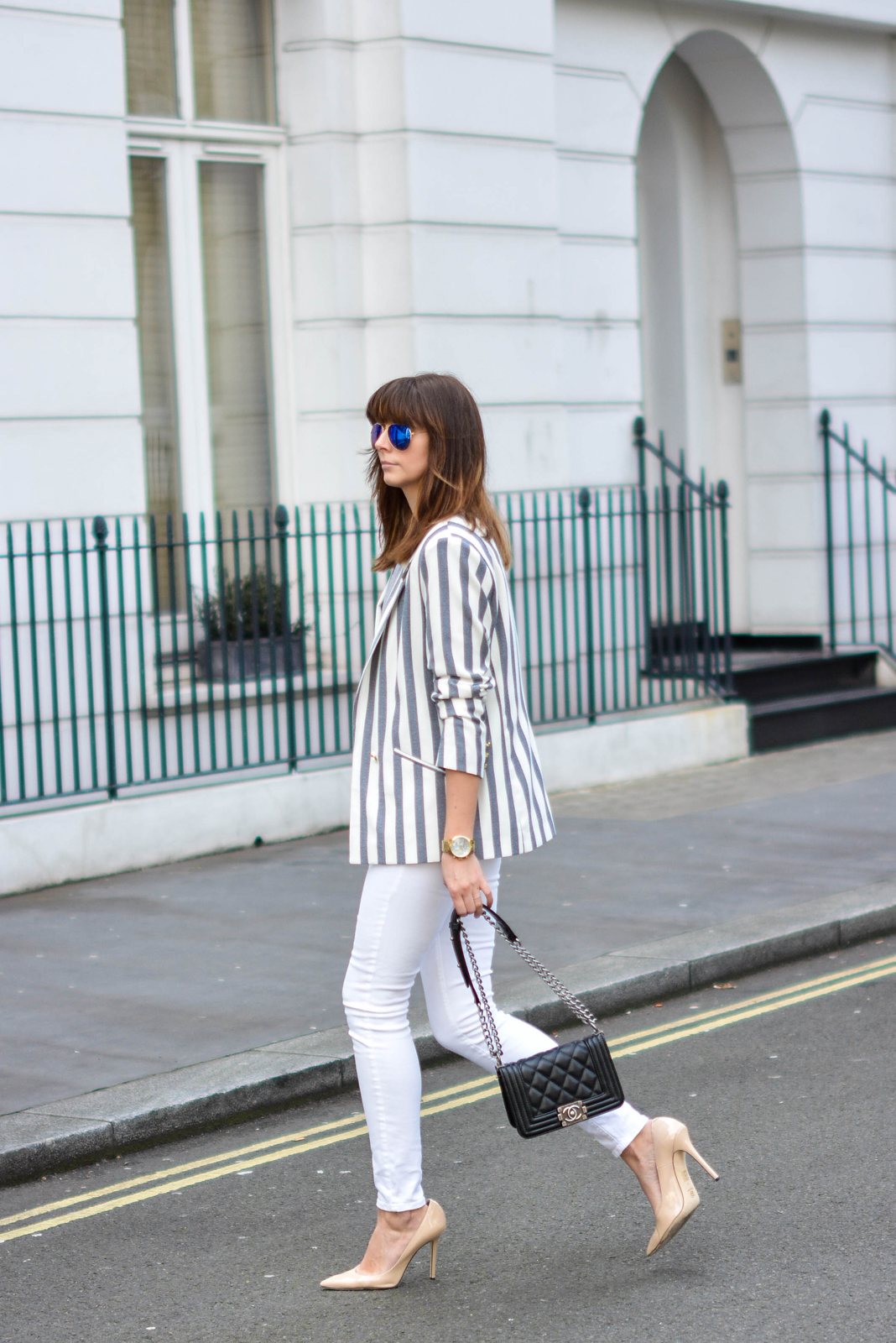 EJSTYLE - Emma Hill, River Island white skinny jeans, River Island stripe blazer, black Chanel Boy bag, Daniel footwear nude court shoes, polarised Ray Ban aviators, OOTD, street style