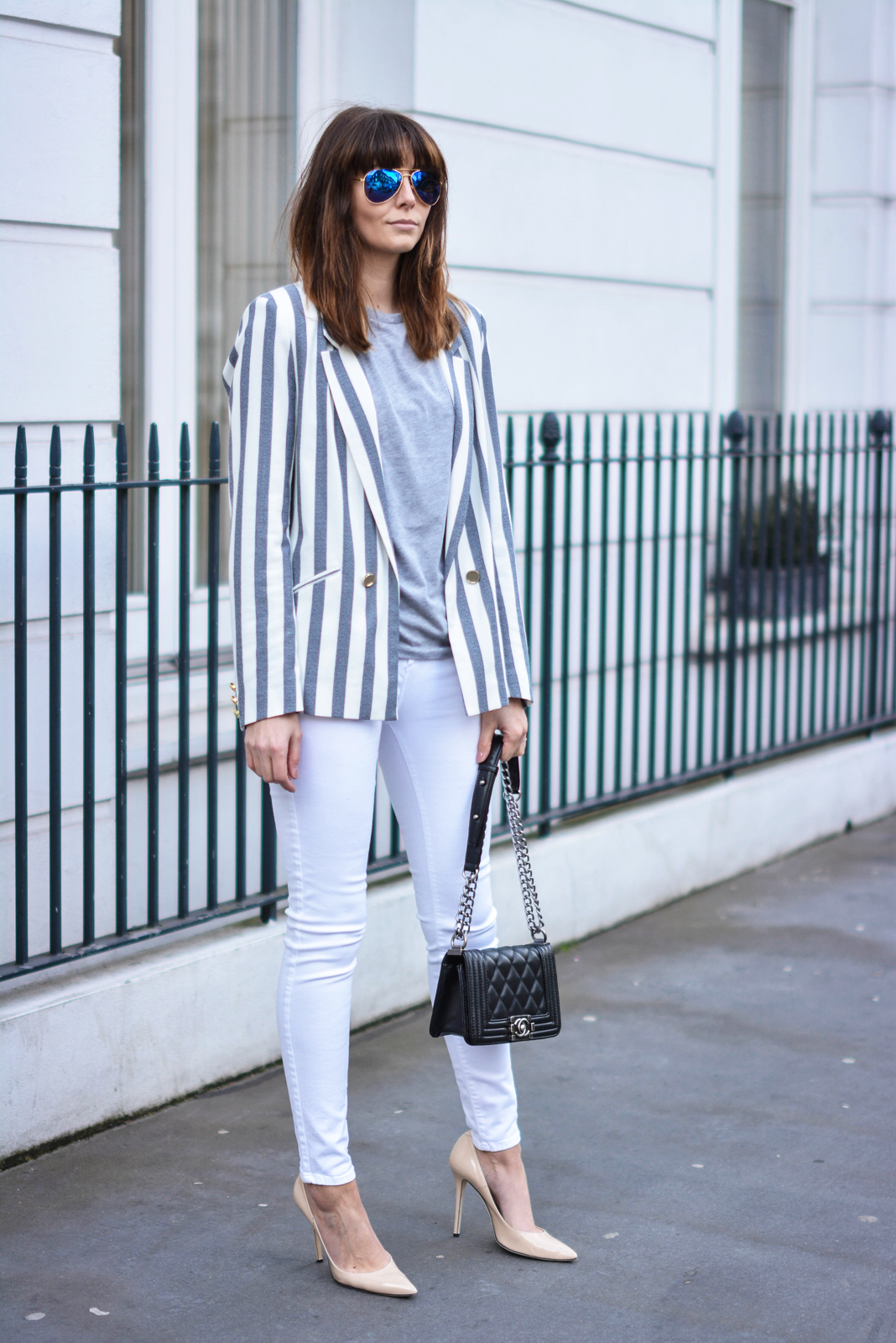 EJSTYLE - Emma Hill, River Island white skinny jeans, River Island stripe blazer, black Chanel Boy bag, Daniel footwear nude court shoes, polarised Ray Ban aviators, OOTD