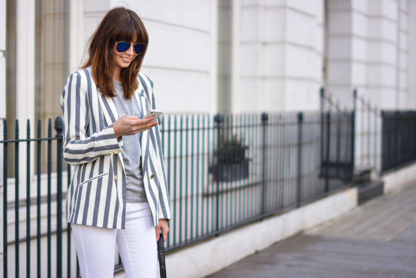 EJSTYLE - Emma Hill, River Island white skinny jeans, River Island stripe blazer, grey basic round neck t shirt, polarised Ray Ban aviators