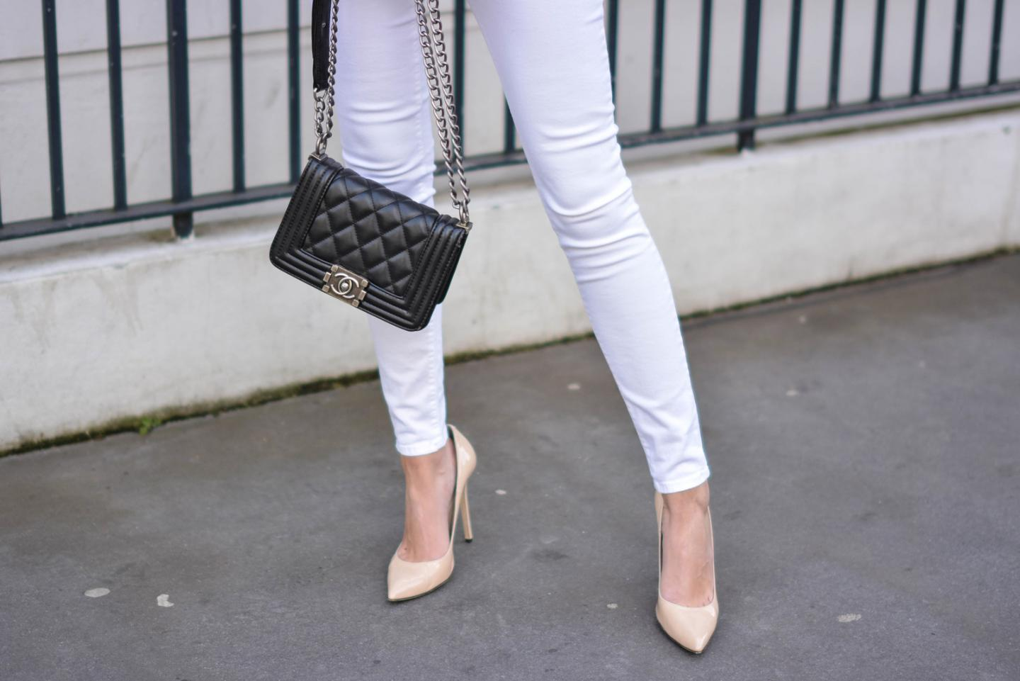 EJSTYLE - Emma Hill, River Island white skinny jeans, black Chanel Boy bag, Daniel footwear nude court shoes
