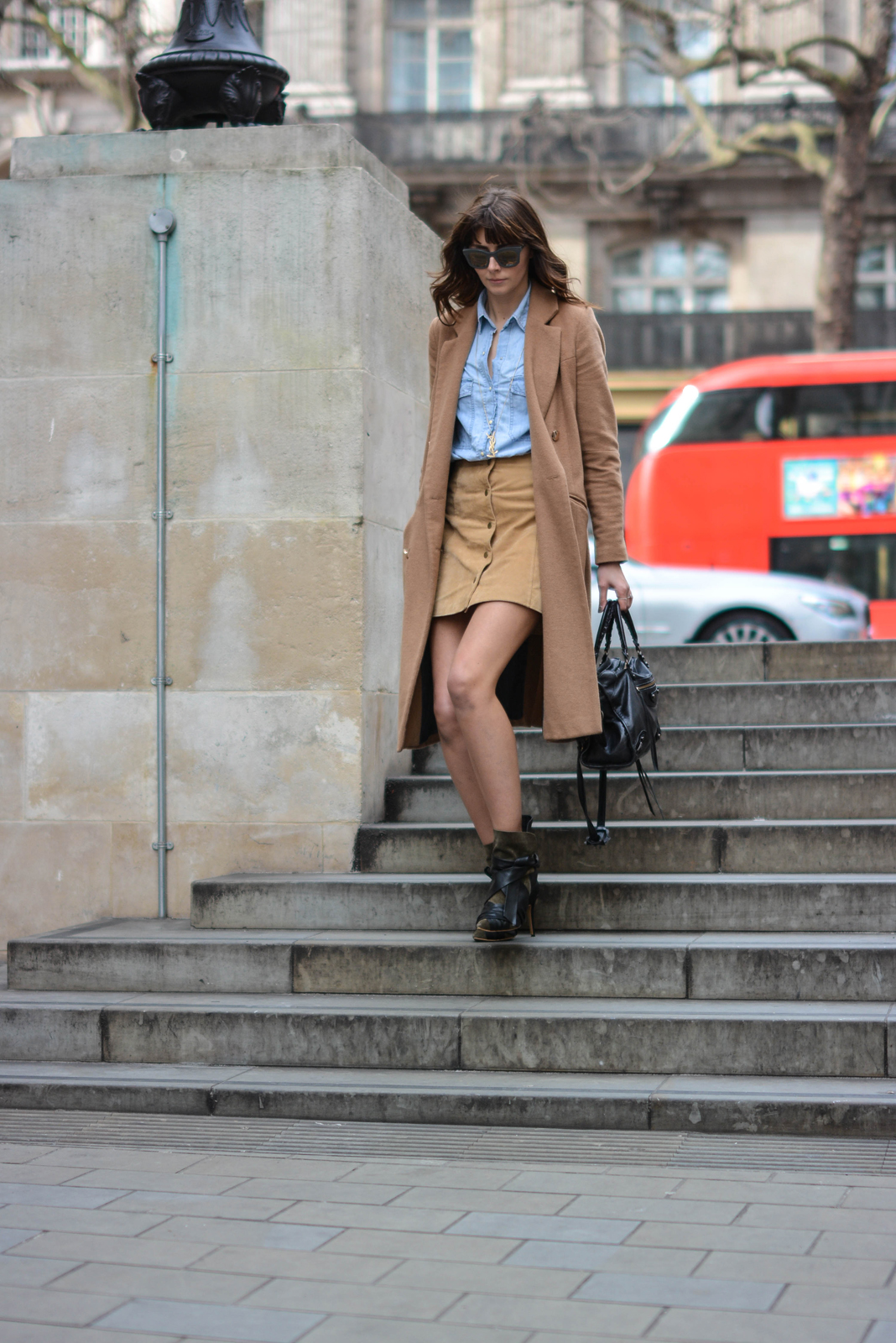 EJSTYLE - Emma Hill, Stella McCartney Sunglasses, denim shirt, camel coat, suede popper skirt miss selfridge, 70s style, Isabel Marant boots, street style, OOTD, fashion blogger