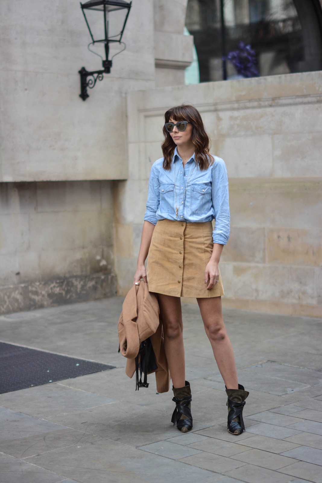 EJSTYLE - Emma Hill, Stella McCartney Sunglasses, denim shirt, camel coat, suede popper skirt miss selfridge, 70s style, Isabel Marant boots, street style, OOTD