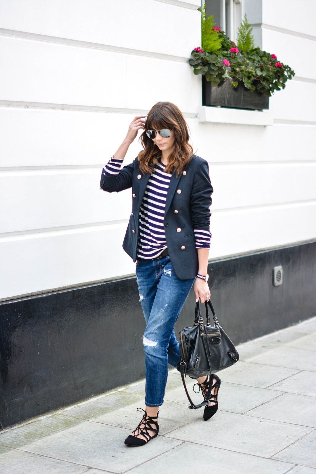 EJSTYLE - Emma Hill, Aquazzura flats dupes, Balenciaga city bag black, Ripped boyfriend jeans, breton stripe top, Superdry muse navy blazer, mirrored sunglasses, OOTD, casual weekend outfit, street style