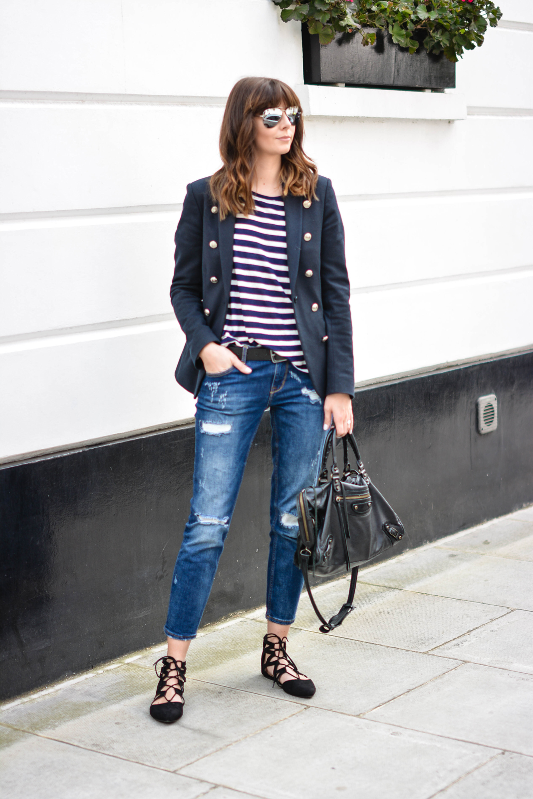 EJSTYLE - Emma Hill, Aquazzura flats dupes, Balenciaga city bag black, Ripped boyfriend jeans, breton stripe top, Superdry muse navy blazer, mirrored sunglasses, OOTD, casual weekend outfit