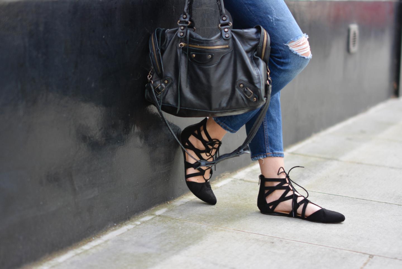 EJSTYLE - Emma Hill, Aquazzura flats dupes, Balenciaga city bag black, Ripped boyfriend jeans