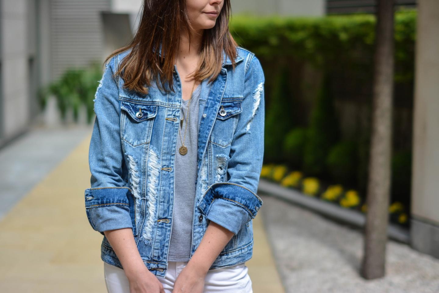 EJSTYLE - Emma Hill, Forever 21 distressed ripped denim jacket, gold long layered necklaces, grey v neck basic t shirt