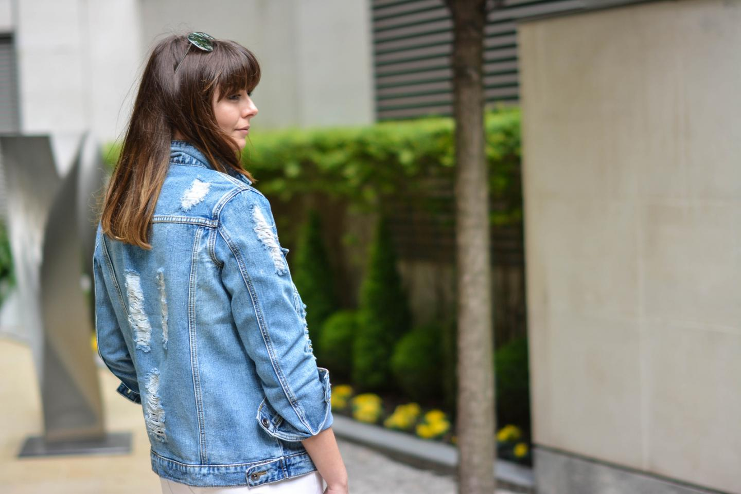 EJSTYLE - Emma Hill, Forever 21 distressed ripped denim jacket