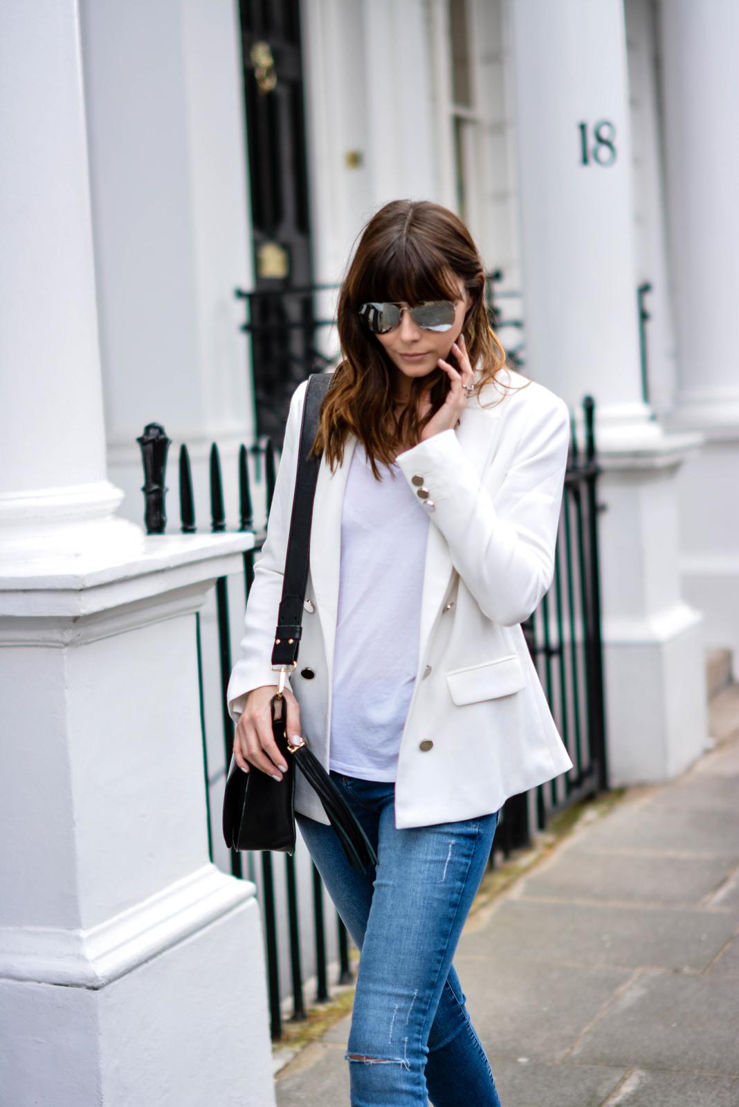 EJSTYLE - Emma Hill, Forever 21 white blazer, River Island ankle grazer skinny jeans, River Island Black saddle tassle bag, basic white t shirt, OOTD