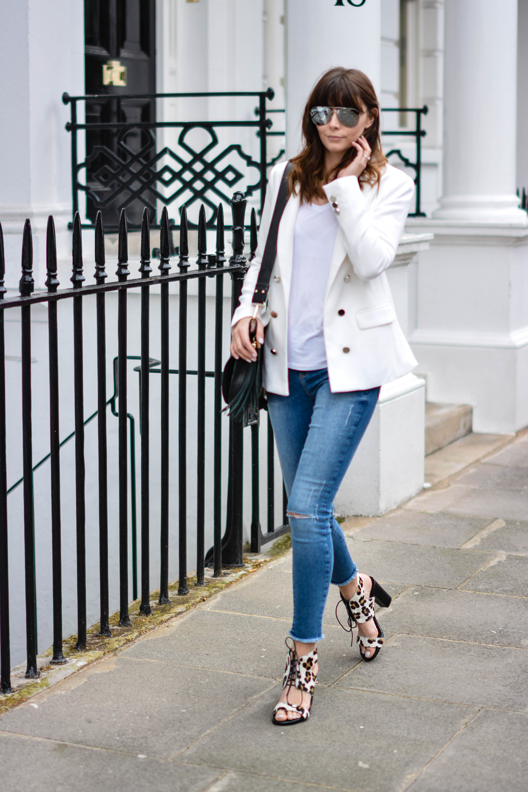 EJSTYLE - Emma Hill, Forever 21 white blazer, River Island ankle grazer skinny jeans, Sante shoes leopard lace up sandals, River Island Black saddle tassle bag, basic white t shirt, OOTD
