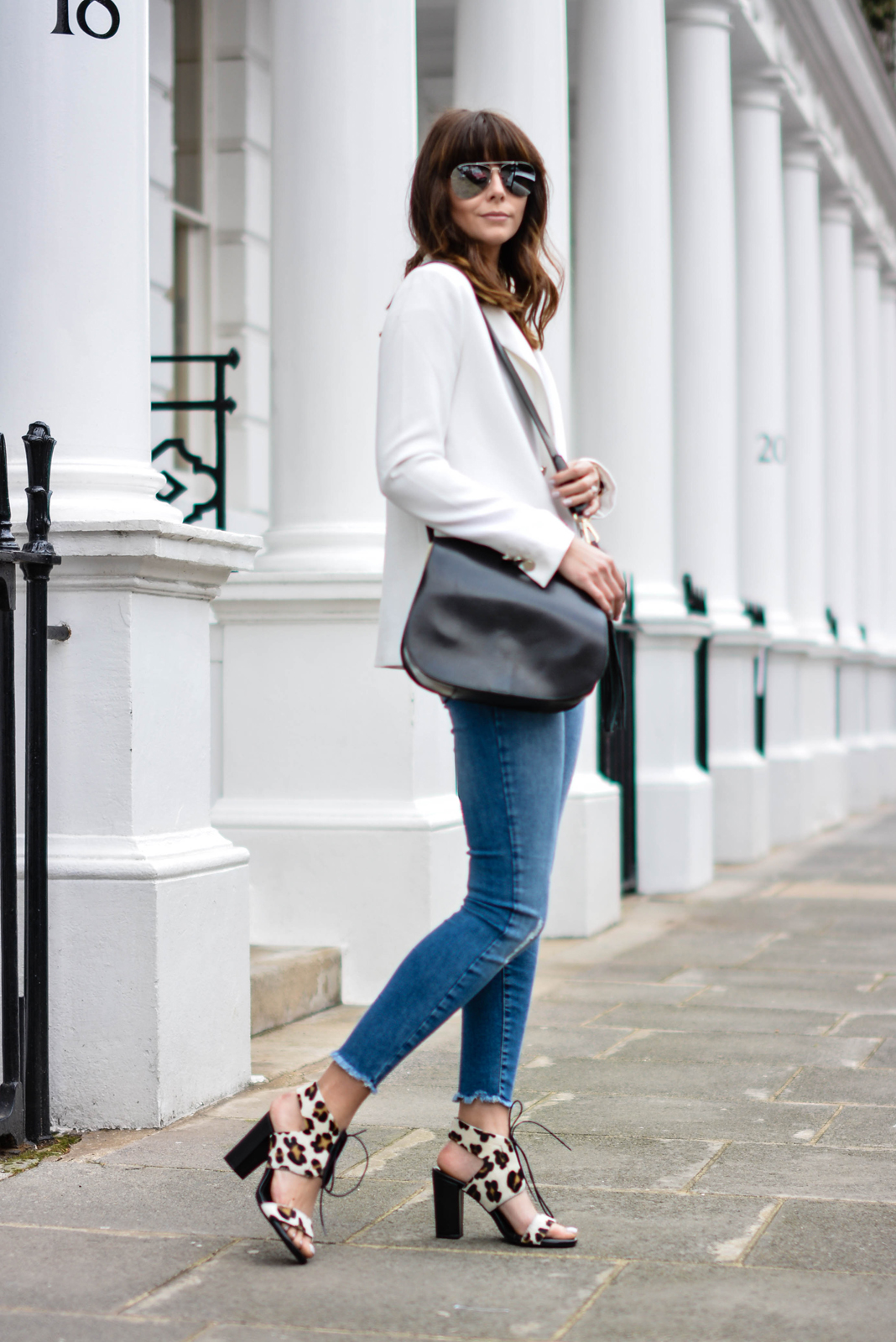 EJSTYLE - Emma Hill, Forever 21 white blazer, River Island ankle grazer skinny jeans, Sante shoes leopard lace up sandals, River Island Black saddle tassle bag
