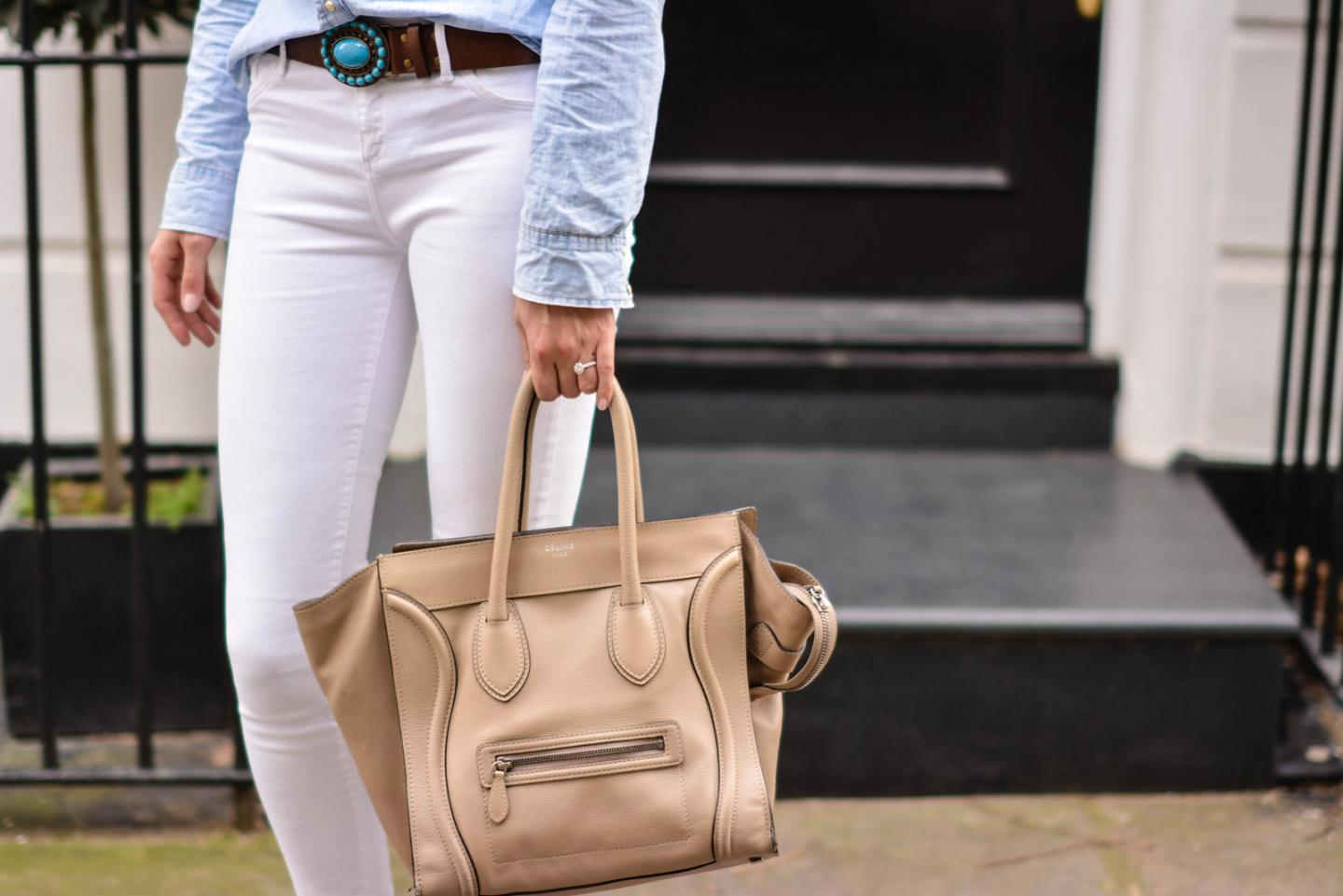 EJSTYLE - Emma Hill, River Island white skinny jeans, Topshop denim shirt, Turquoise brown leather belt, Celine mini luggage nude