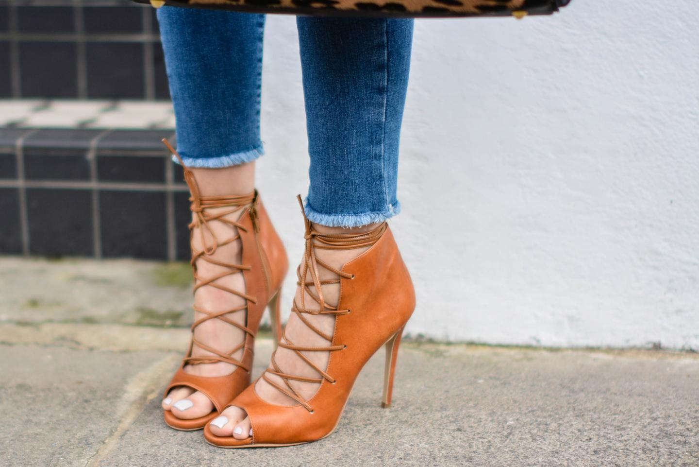 EJSTYLE - Emma Hill, Sante Shoes tan leather lace up sandals, raw hem River Island skinny jeans
