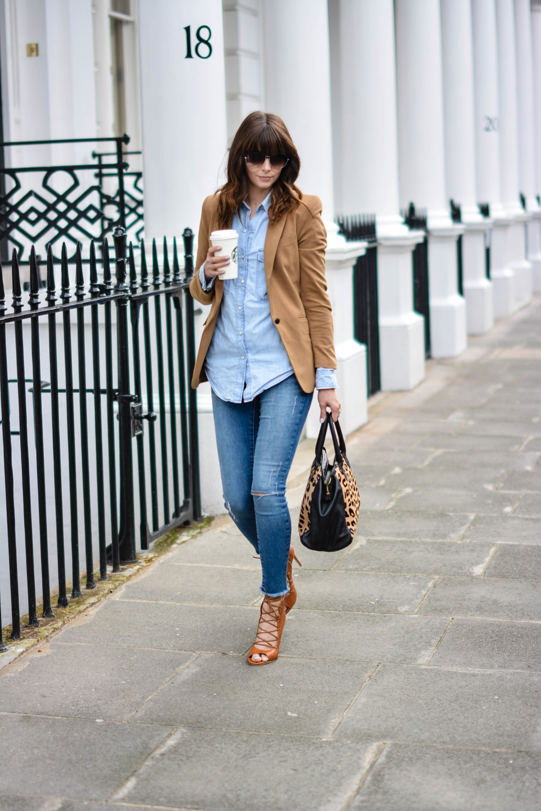 EJSTYLE - Emma Hill, Sante Shoes tan leather lace up sandals, raw hem ripped River Island skinny jeans, Forever 21 Camel blazer, Denim shirt, Leopard print ponyskin leather bag, double denim outfit, fashion blogger
