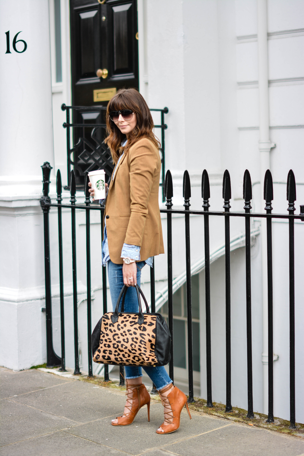 EJSTYLE - Emma Hill, Sante Shoes tan leather lace up sandals, raw hem ripped River Island skinny jeans, Forever 21 Camel blazer, Denim shirt, Leopard print ponyskin leather bag, double denim outfit, london street sty