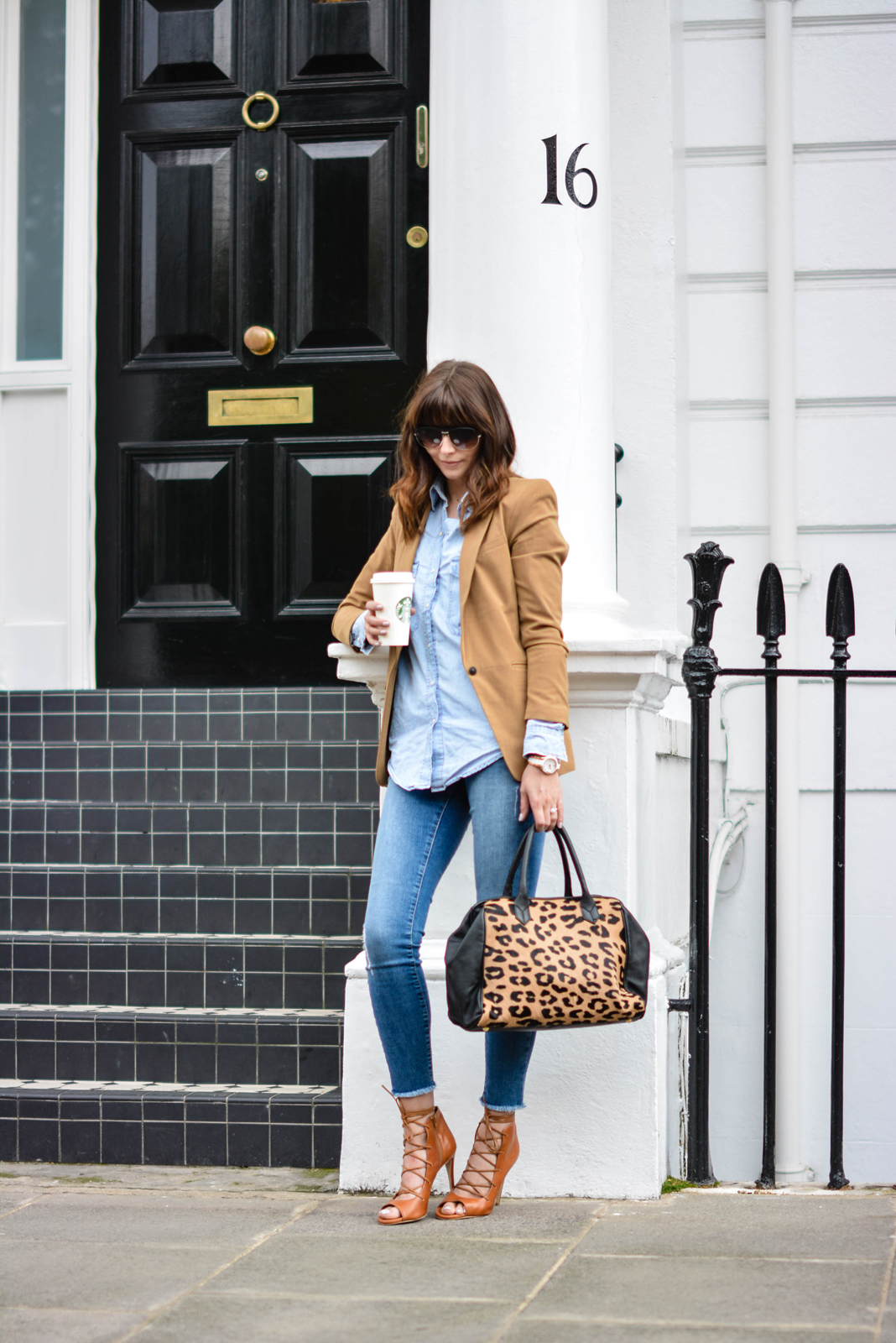 EJSTYLE - Emma Hill, Sante Shoes tan leather lace up sandals, raw hem ripped River Island skinny jeans, Forever 21 Camel blazer, Denim shirt, Leopard print ponyskin leather bag, double denim outfit