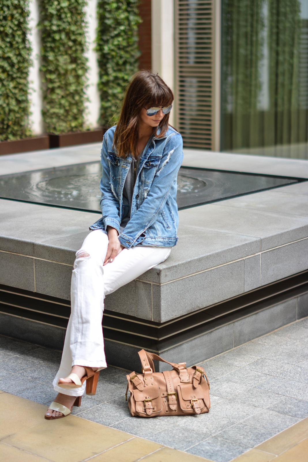 EJSTYLE - Emma Hill, forever 21 ripped denim jacket, basic grey v neck t shirt, Mulberry Ronxanne bag nude, Jigsaw tan and cream block heel sandals, white flare jeans from Zara, spring summer OOTD