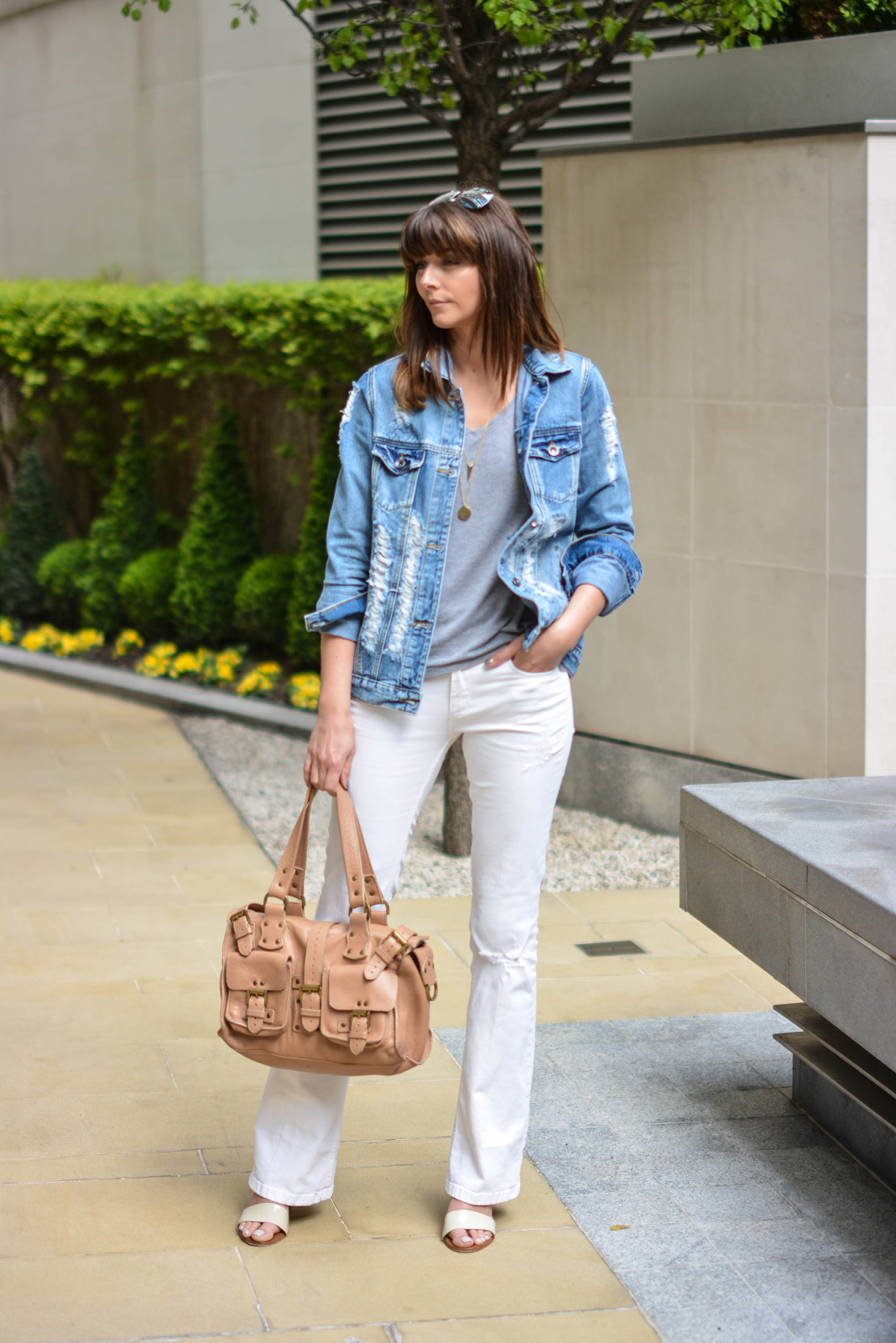 EJSTYLE - Emma Hill, forever 21 ripped denim jacket, basic grey v neck t shirt, Mulberry Ronxanne bag nude, Jigsaw tan and cream block heel sandals, white flare jeans from Zara, summer OOTD