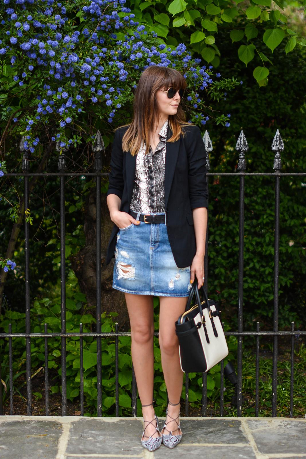 EJSTYLE - Aspinal bag, Topshop snake pointed lace up flats, snakskin print shirt, black blazer, denim mini skirt, OOTD