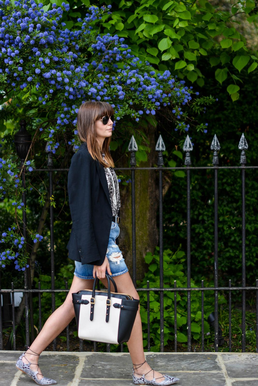 EJSTYLE - Aspinal bag, Topshop snake pointed lace up flats, snakskin print shirt, black blazer, denim mini skirt