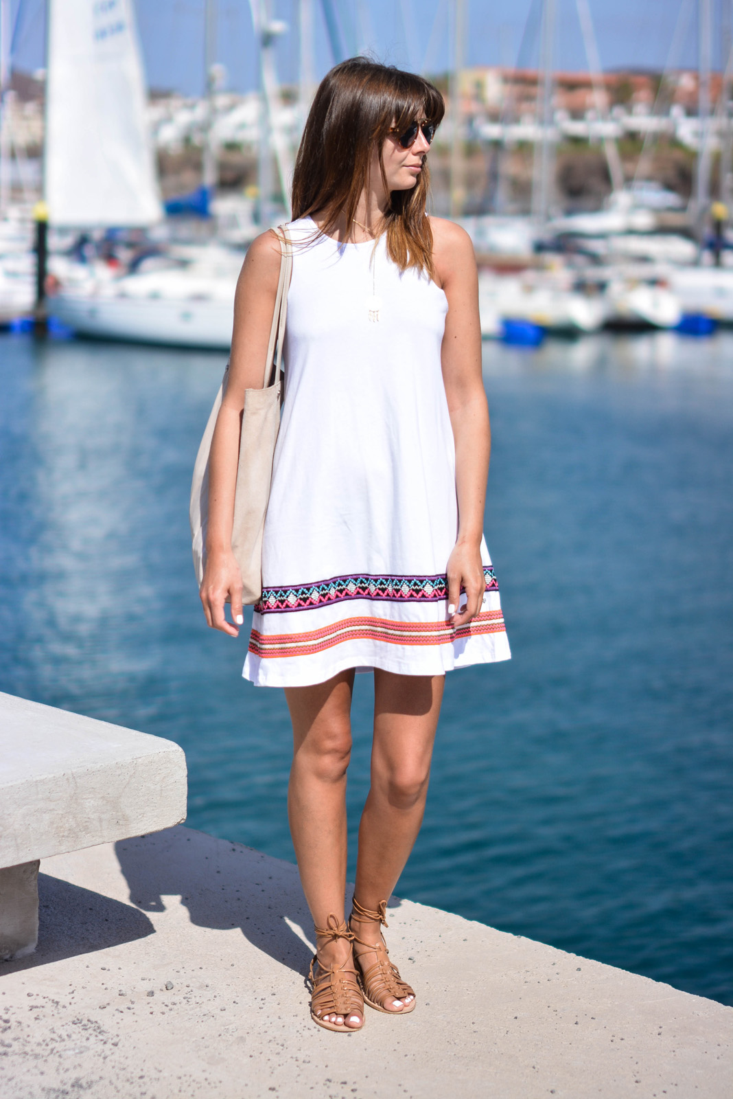 EJSTYLE - Emma Hill Wears ASOS white swing dress, ASOS tan grecian sandals, ASOS beige suede leather bag, ASOS sunglasses, summer style, Holiday, vacation